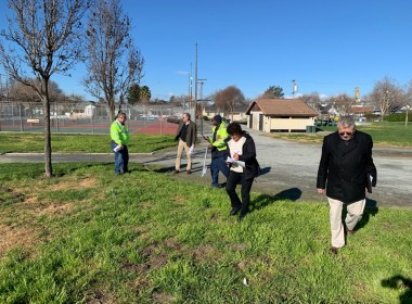 City staff and members of the Public Art Review Committee examine potential installation sites at Dunne Park. Photo provided by San Benito Arts Council.