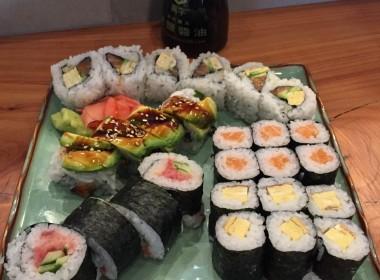 Several of the sushi rolls served at Inaka, including the San Benito roll, Unagi Avocado roll, spicy tuna roll and the Tamago Maki roll. Photo by Nicholas Preciado.