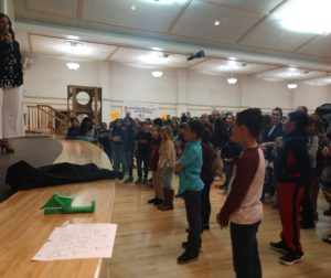 Students waiting for the winners to be called at the March 21 STEAM Fair. Photo by Carmel de Bertaut.