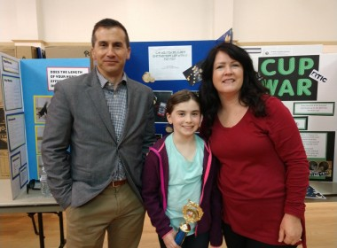 Winner Mira Dutton with parents Brian and Melissa Dutton. Photo by Carmel de Bertaut.