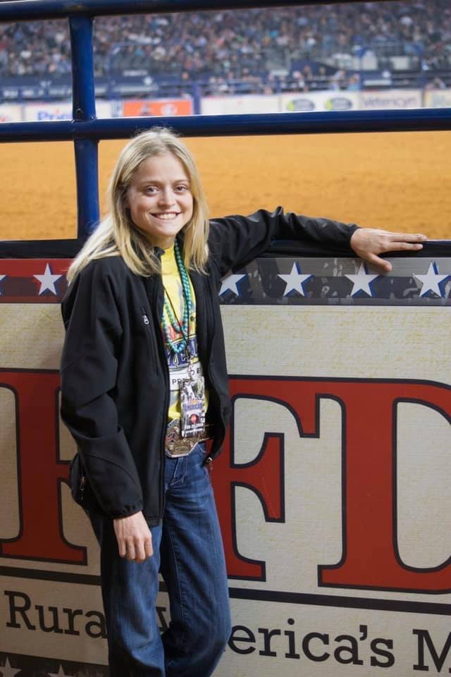 Blaire at the American Rodeo at AT&T Stadium in Arlington, TX. She was a part of the 2018 American Ambassador team.