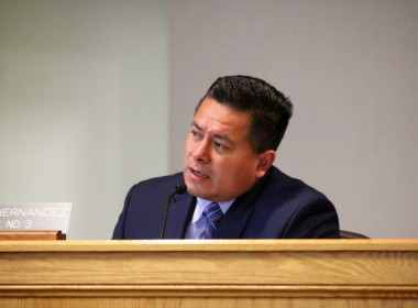 San Benito County Supervisor Peter Hernandez at a March 2019 meeting. Photo by John Chadwell.