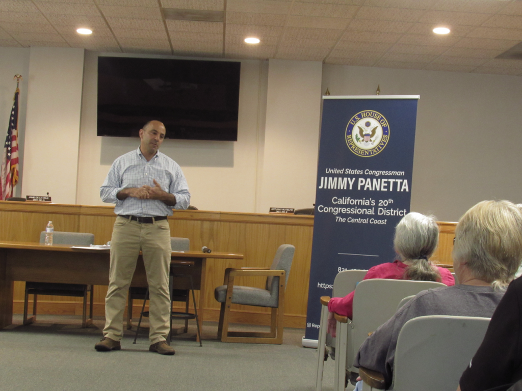 Congressman Jimmy Panetta answered several questions from the public after giving a legislative update during an April 13 town hall in Hollister. Photo by Noe Magaña.