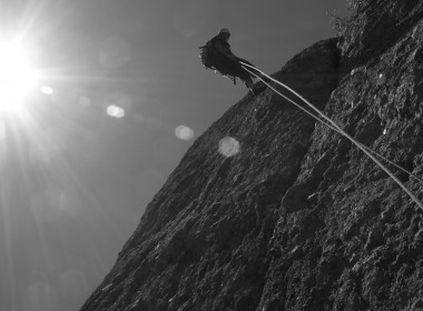 Robert Walton rappels from Elephant Rock. Photo courtesy of Jon Walton.
