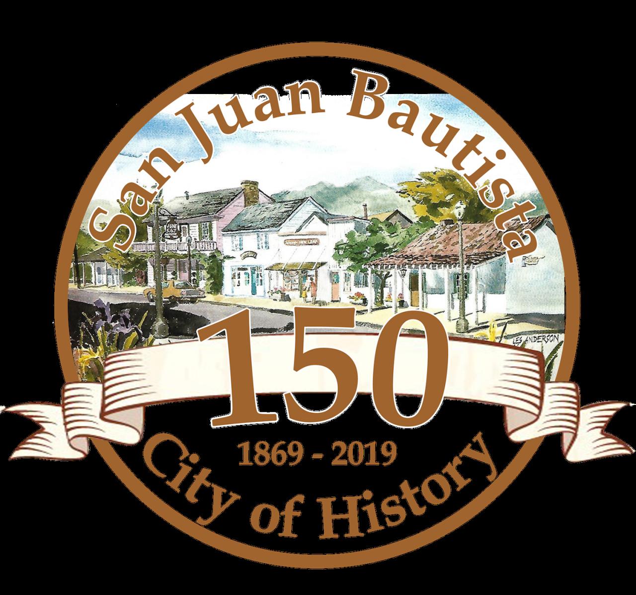 San Juan Bautista Celebrates 150 logo. Provided by SJB150 Committee.