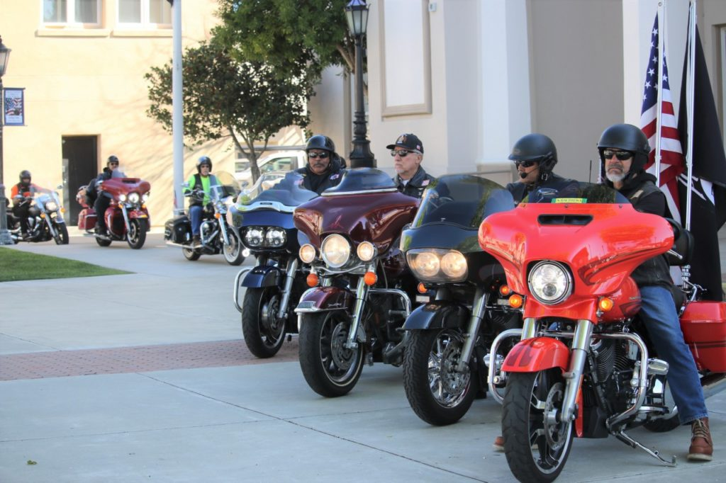 American Legion Post 69 riders in front of the Veterans Memorial Building in downtown Hollister. Around 15 local riders took part in filming promotional videos for the Hollister Rebel Rally set to take place in July. Photo by John Chadwell.