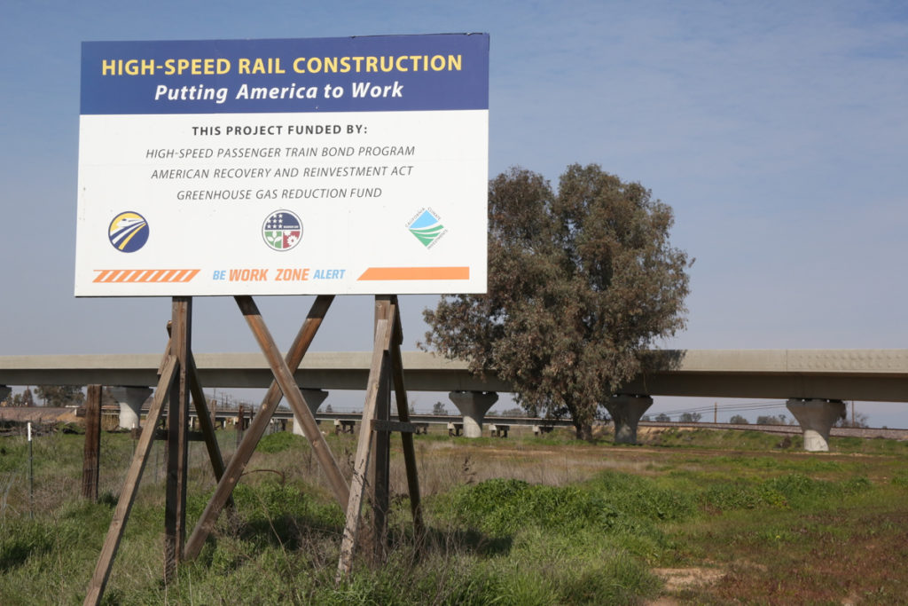 Work on the high-speed rail project in 2019 on a 115-mile stretch in the Central Valley. Photo by Leslie David.