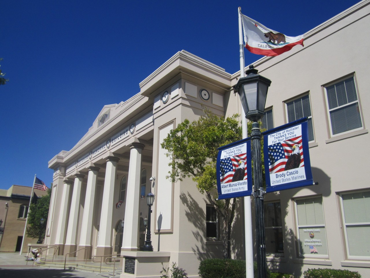 The local VFW have banners hung in downtown Hollister in support of active military members. Photo by Becky Bonner.