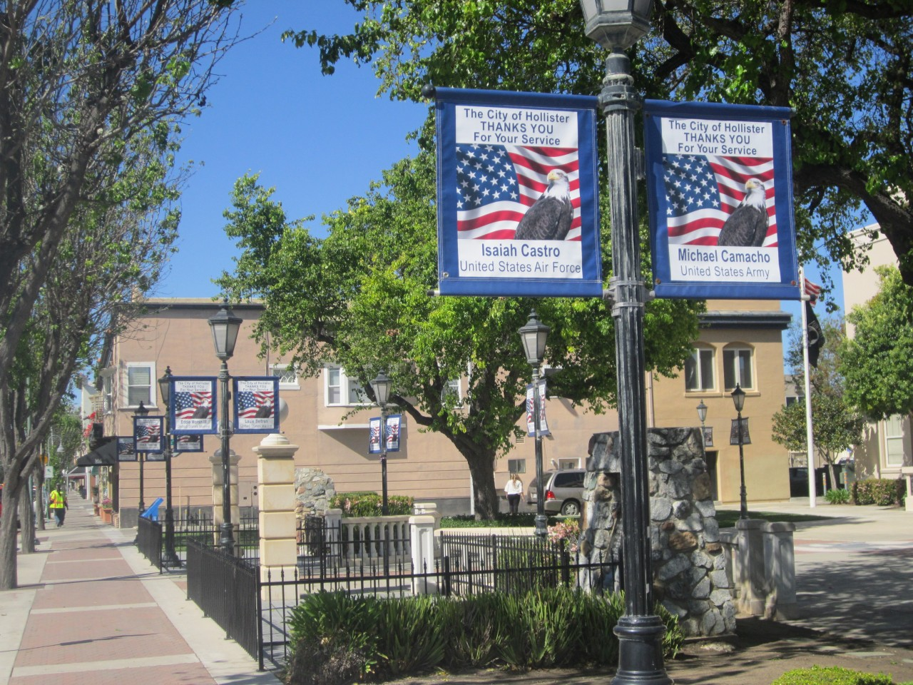 Banners for current residents serving in the military can be seen on San Benito Street in downtown Hollister. Photo by Becky Bonner.