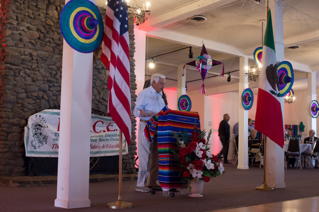 MACE member Al Gutierrez at the 2019 Cinco de Mayo dance gives an emotional speech about Adolfo Berlanga, the late owner of El Nopal Bakery in Hollister. Photo by Noe Magaña.