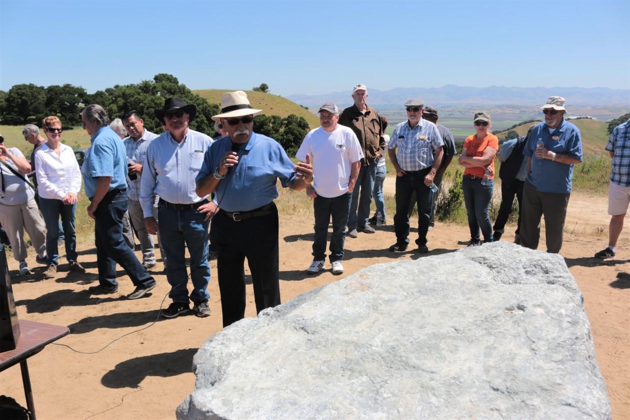 San Juan Bautista Mayor Cesar Flores speaks at the dedication of Jim West's memorial.