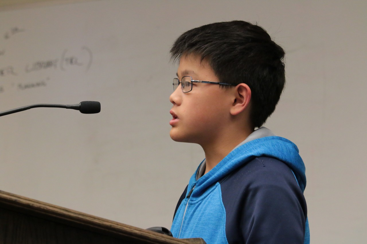 Councilmembers Spencer and Lenoir were impressed when Joshua Ong, 12, joined his father Kian in asking the council to vote against recreational cannabis.