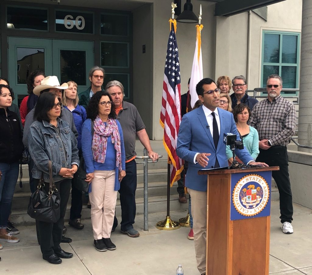 State Assemblyman Robert Rivas at a press conference on Monday, May 13 in Salinas. Photo provided by the Office of Robert Rivas.