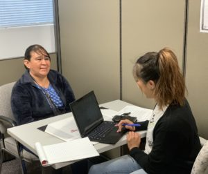 Gloria Hernandez meets with social worker Noemi Perez before going to an appointment. Photo provided by Cyrena Salinas/Whole Person Care.