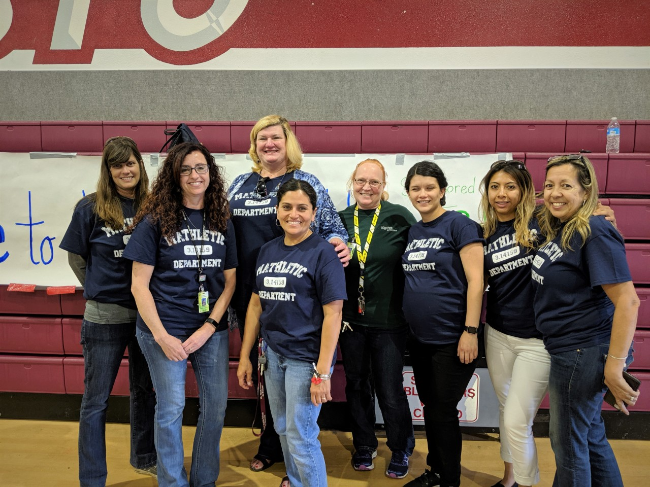 Debbi Parcell (second from left) explained how putting on this event was a team effort between the math department, Principal Vickie Smith and students involved.