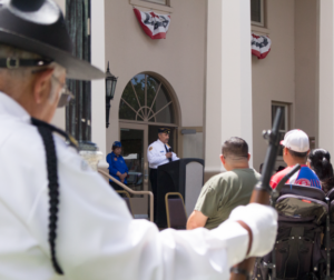 American Legion Commander Robert De Luna addresses attendees during the 2019 Memorial Day ceremony at the Vets Building in downtown Hollister. Photos by Noe Magaña.