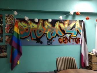 Banner in LGBTQ community room.
