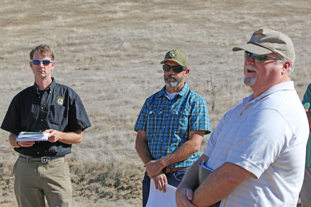Tom Sparling (right), U.S. Fish and Wildlife Service's Jeff Phillips (left), and California Department of Fish and Wildlife's Dave Hacker (center) at a tour of the Sparling Ranch Conservation Bank in the fall of 2017. Photo by Ashley McConnell/USFWS.