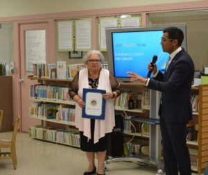 Assemblyman Robert Rivas speaks at the centennial celebration of the San Benito County Free Library. Photos provided by the San Benito County Free Library.