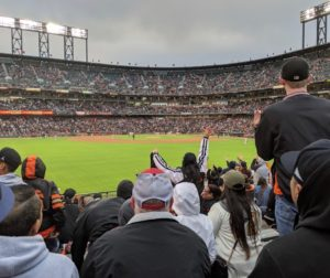 Event organizer Laura Collier said that 35 people made up the group at the Saturday, May 11 Giants baseball game. Photo by Becky Bonner.