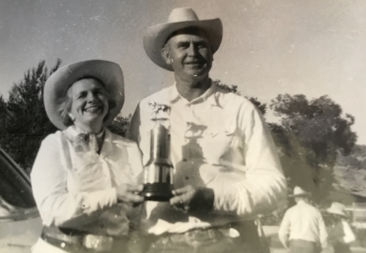 Jean and Brick Hawkins (Linda Morrissey's parents) in 1953 after winning the Family Group category at the Horse Show Parade. Photo courtesy Linda Morrissey.