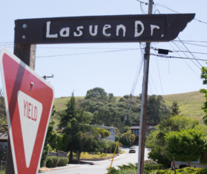 Lasuen Drive in San Juan Bautista. A break in a water line occurred during a backfilling process in the area. Public Works employees were able to stop the leak around 2:36 p.m. Photo by Noe Magaña.