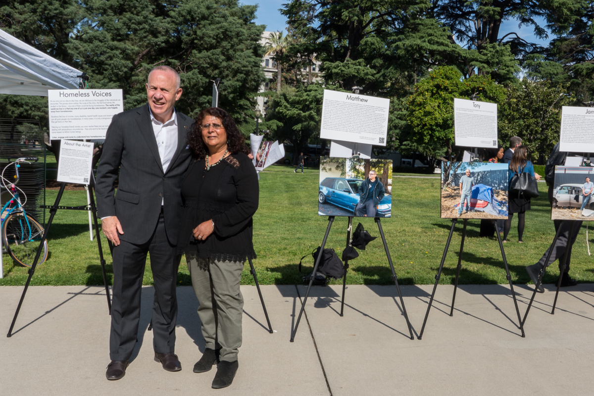 Sacramento Mayor Darrell Steinberg with photographer Kirti Bassendine. Photo provided by Kirti Bassendine.