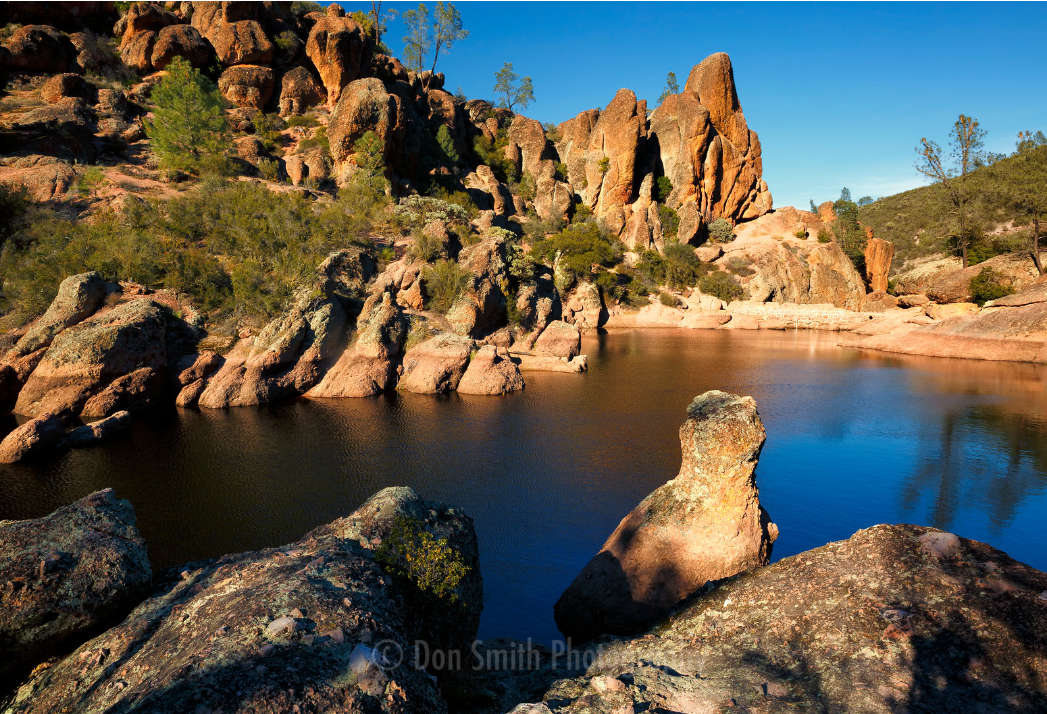 Bear Gultch Resevoir, a popular destination for people visiting Pinnacles.