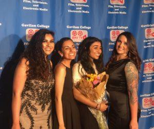 Gavilan student filmmakers Jazmin Chilin, Samantha Betancourt, Honna Afzal, and Sara Grace Barclay. Afzal won Best Editing. Photos provided by Grant Richards.