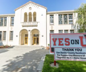 San Benito High School with a Measure U sign out front. Local voters approved the school bond in 2016. File photo by Joshua Miller.