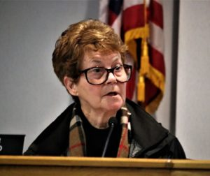 Valerie Egland at a February 2019 meeting of the San Benito County Planning Commission. Photo by John Chadwell.