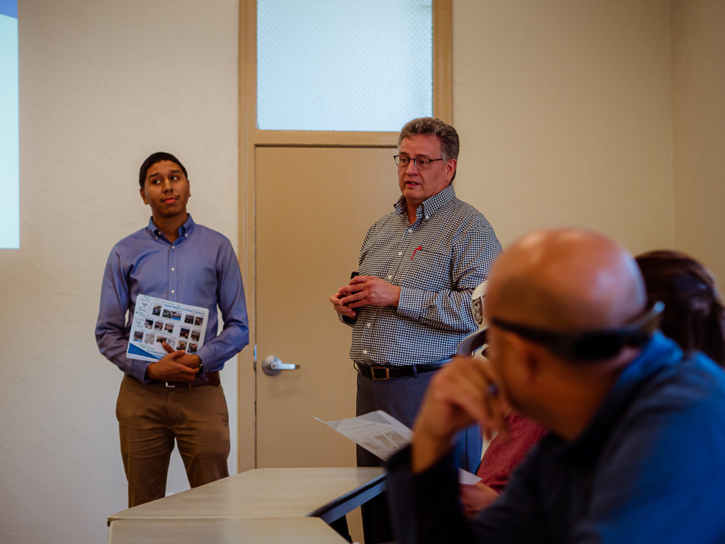 Frederik Venter speaks to residents at traffic calming meeting. Photos by Heather Graham