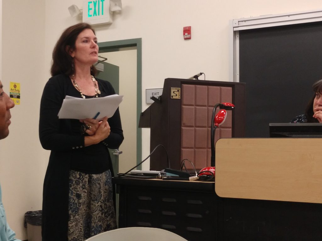 Ann Kennedy presents update to the Gavilan College Board of Trustees. Photo by Carmel de Bertaut.