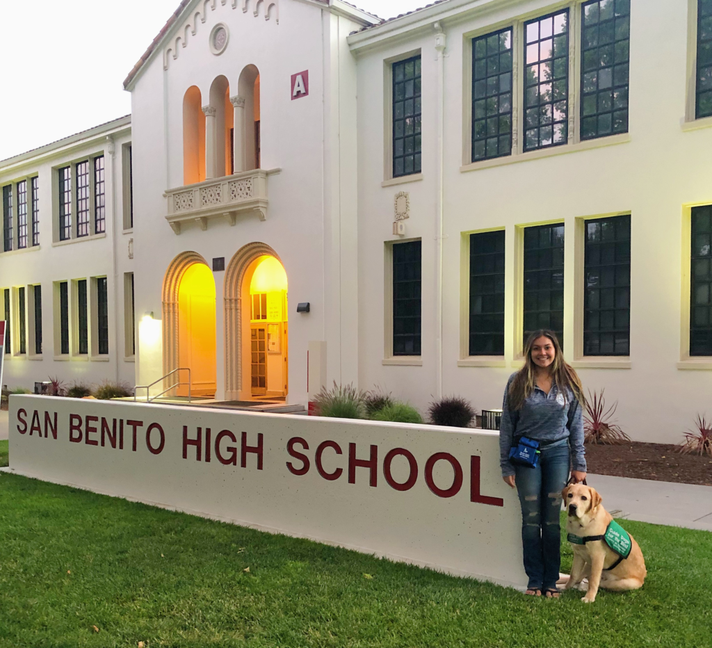 Alexandria Ramirez with Michelin, guide-dog-in-training, at San Benito High School. Photo provided by Alexandria Ramirez.