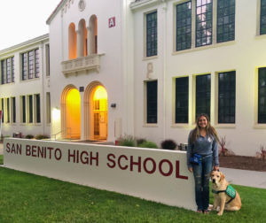 Alexandria Ramirez with Michelin, guide-dog-in-training, at San Benito High School. Photo provided by Alexandria Ramirez.