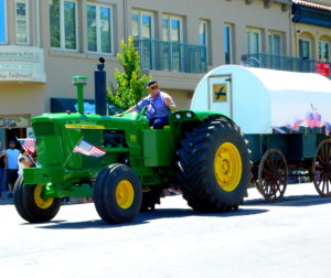 100 plus old sheepherder's wagon was restored by Dave Wright for the Downtown Parade. Photo courtesy of Blaire Strohn.