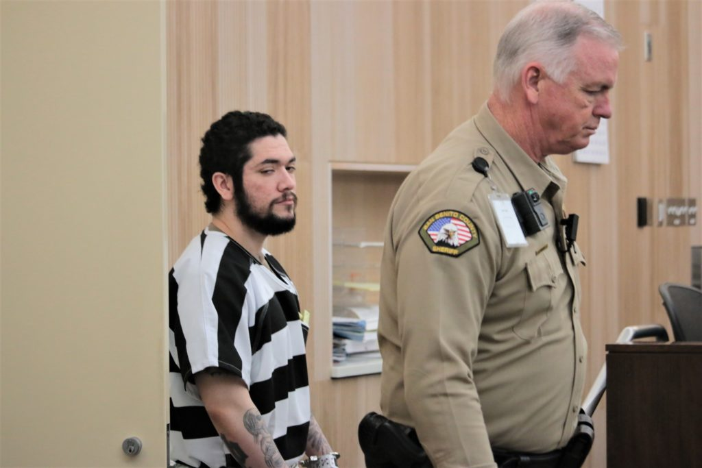 Jose Antonio Barajas enters San Benito County Superior Court for a hearing on June 13 to determine a trial date, which was delayed because his attorney Gregory LaForge was ill. Photo by John Chadwell.