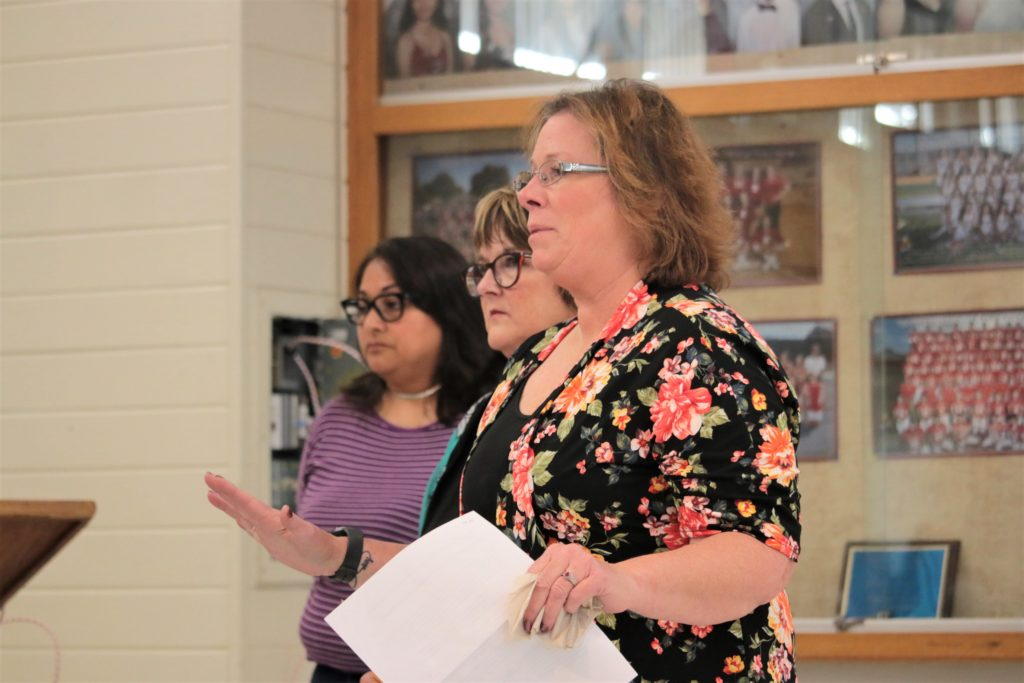 Parent Susan Villa, education advocate Kim Taylor and parent Virginia Gardner told the San Benito High School Board of Trustees that they filed reports to the police after receiving an anonymous letter alleging inappropriate sexual language and video images in a classroom, as well as bullying and retaliation against an aide. Photo by John Chadwell.
