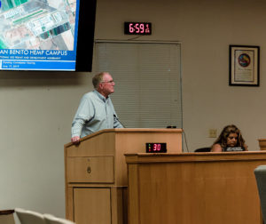 Skip Spiering, representing the San Benito Hemp Campus, spoke at the June 19 San Benito County Planning Commission. Photos by Heather Graham.