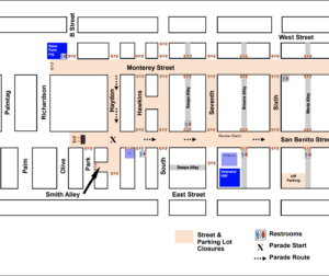 Street closures for the 2019 San Benito County Saddle Horse Downtown Parade.