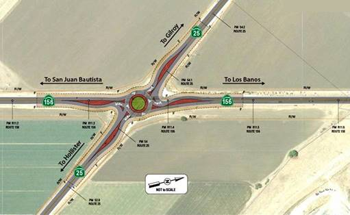 Preliminary design for the proposed roundabout at Highway 25 and 156 intersection. Image courtesy of Caltrans.