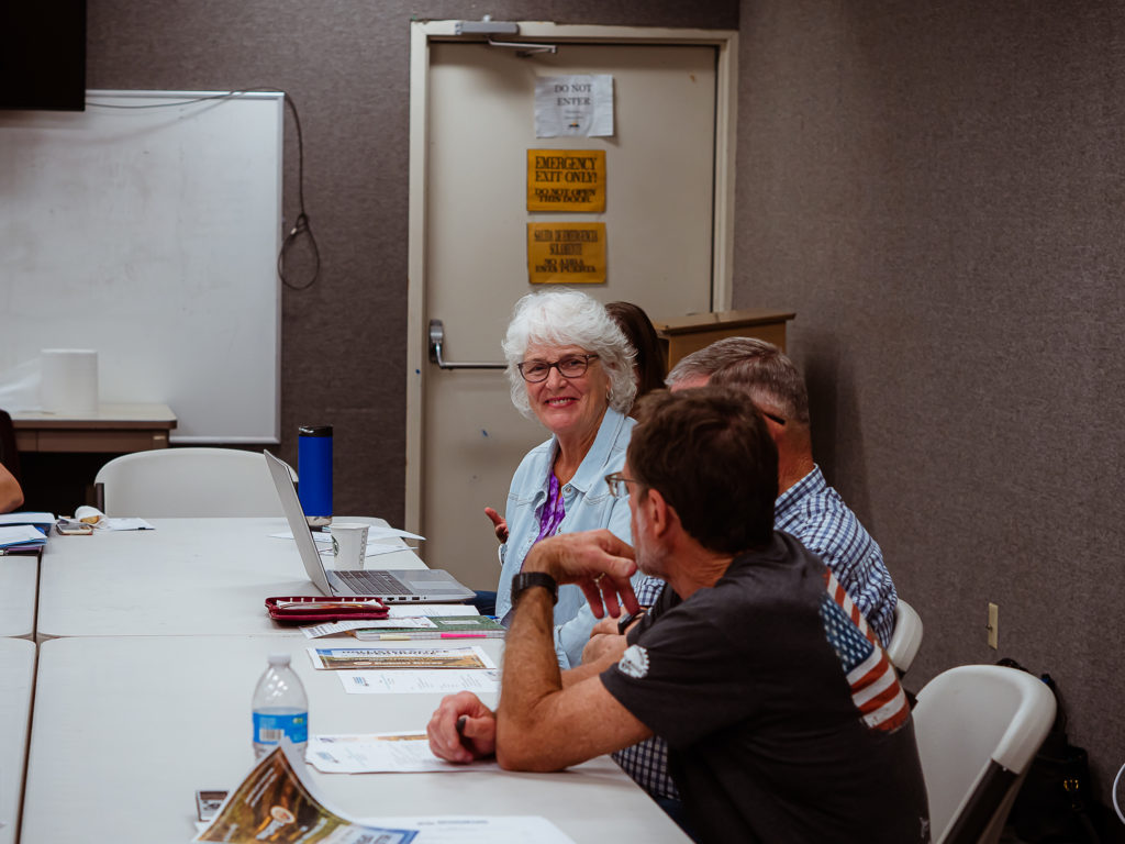 Coalition for a New Library co-chair Susan Logue at the July 13 meeting. Photo by Heather Graham.
