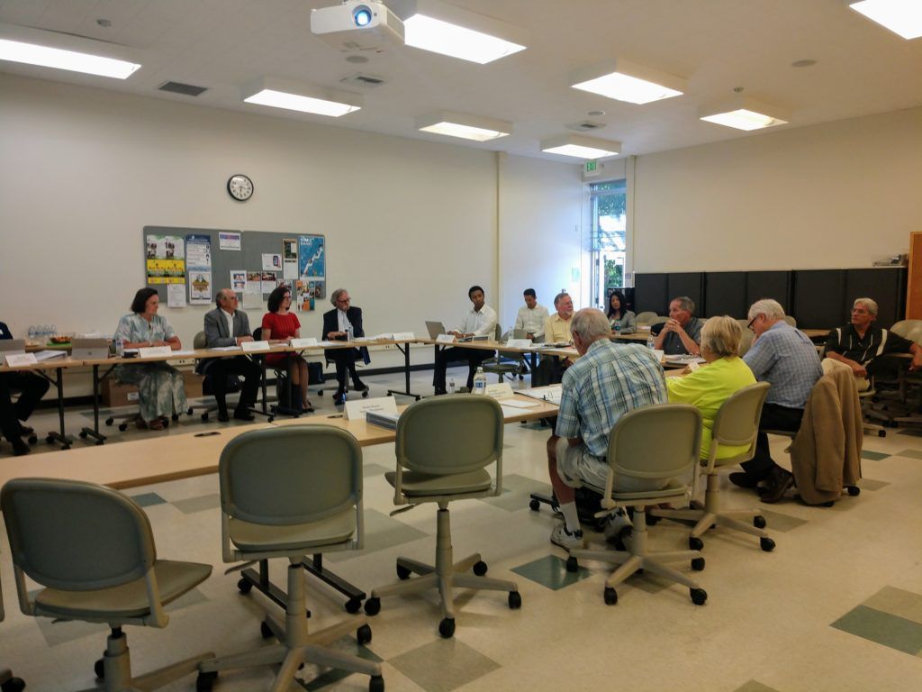 The Measure X Citizens' Oversight Committee at a June 25 meeting. Photo by Carmel de Bertaut.