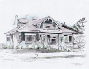 Craftsman Bungalow located at 598 4th St. Drawing by David Huboi.