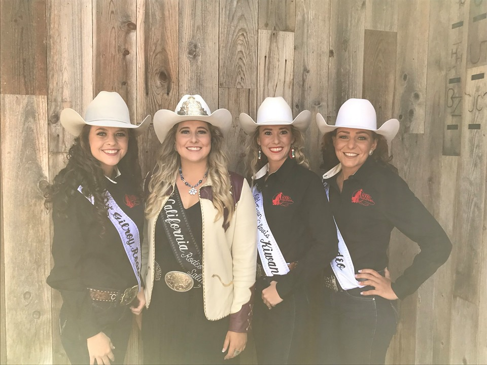 Corissa King (far left) and Kelsee French (far right) are competing for the title Miss California Rodeo Salinas. Photo courtesy of California Rodeo Salinas.