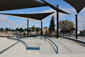 A combination stage for musical performances and skateboard feature are ready for use when the park opens in August. Photo by John Chadwell.