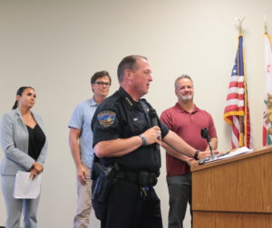 Hollister Police Chief David Westrick, along with principals (left to right) Diana Herbst, Scott Wilbur and Ken Woods, told Hollister School District trustees that school resource officers are part of a team that builds relationships. Photo by John Chadwell.