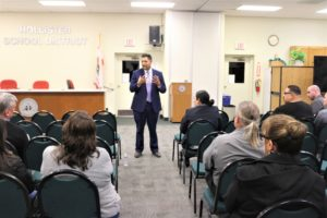 Diego Ochoa speaks to the public during a 2019 board meeting at which he was introduced as the new superintendent. Photo by John Chadwell.