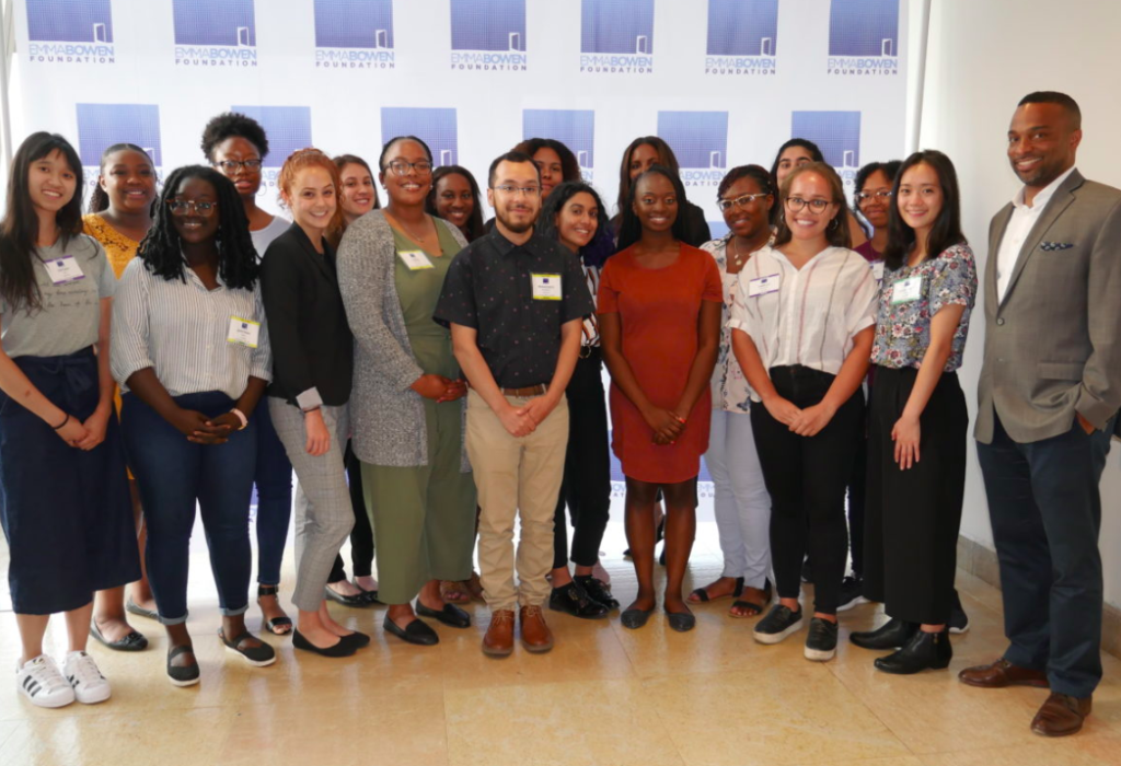 BenitoLink intern Francisco Romero (Center) with other Emma Bowen Fellows at the opening night of the 2019 Emma Bowen Foundation Annual Summer Conference in New York City. Photo Provided by Jules Shapiro, INN Director of Communications and Marketing.