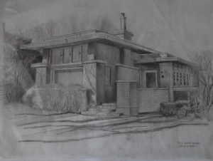 Prairie school design inpired by Frank Lloyd Wright. Drawing by David Huboi